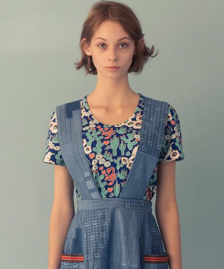 サボテンプリントフリルそでTシャツ (blue)