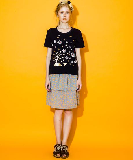 <SAMPLE SALE>  ツバメフルーツプリントの2段スカート (light blue)