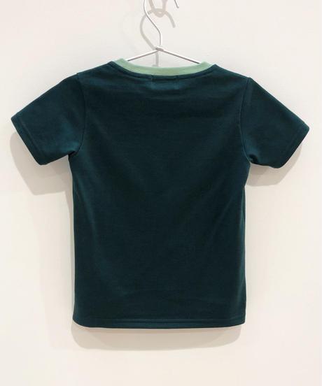 7匹の恐竜の刺繍キッズTシャツ (dark green)