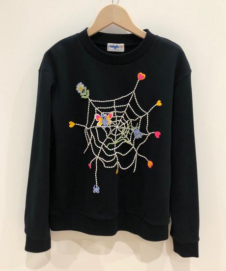 クモの巣刺繍のスウェット (black)