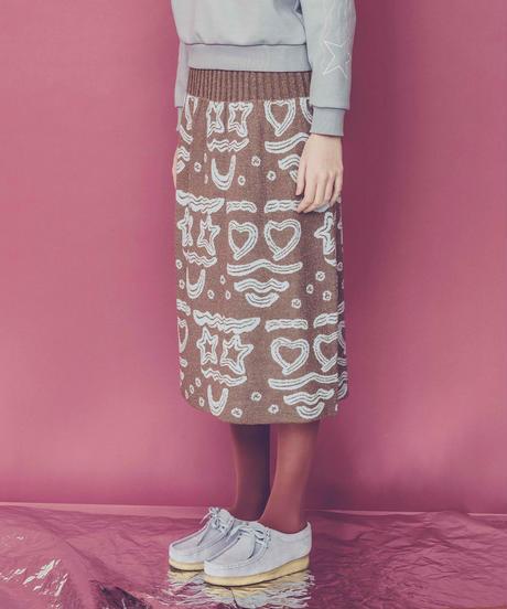 クリームフェイスニットスカート (beige)
