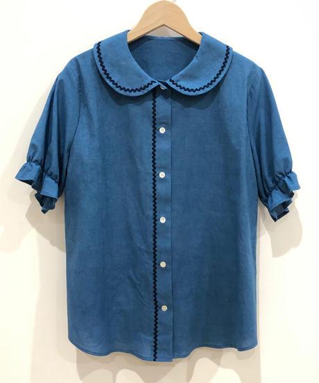 インディゴ丸襟ブラウス (light blue)