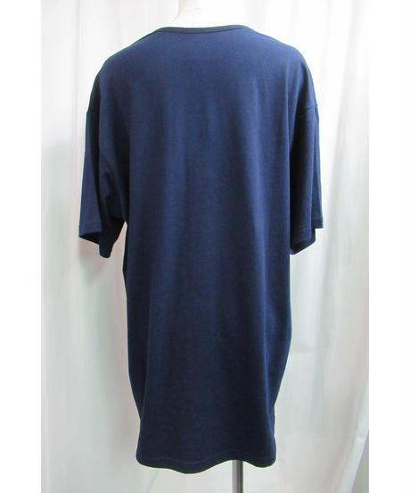 camphor tree 紺 襟カッティングデザインTシャツ