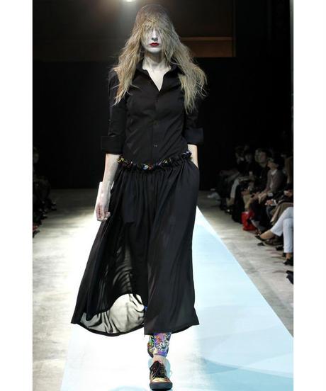 新品 11ss yohji yamamoto femme 黒 7分袖 デザインブラウス