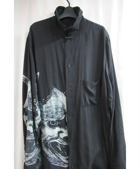18aw BLACK Scandal yohji yamamoto pour homme 般若プリントロングブラウス HV-B57-209