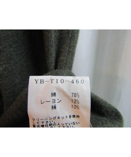 Y's yohji yamamoto カーキ アシメトリードルマンカットソー YB-T10-400