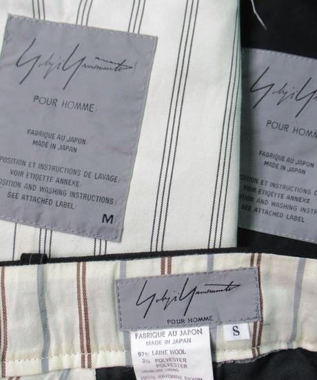 95aw yohji yamamoto pour homme vintage 鹿鳴館期 グレーストライプダメージ加工セットアップ HE-J70-120