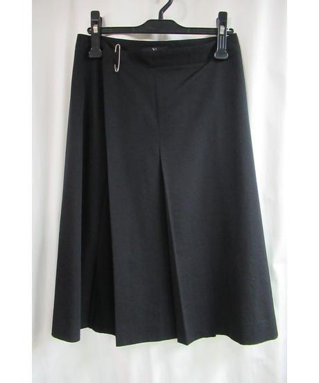 Y's yohji yamamoto 黒 ピン付きデザインひざ丈スカート YT-S06-100