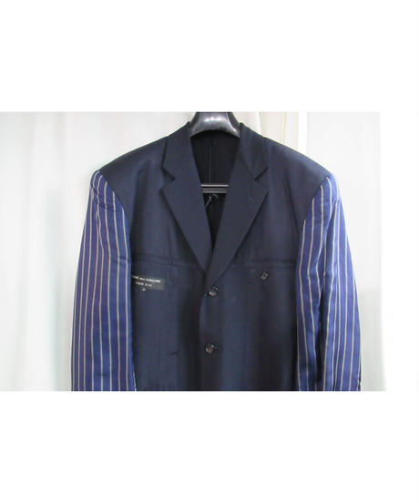 AD1990 COMME des GARCONS HOMME PLUS 袖ストライプ ロゴ入り リバーシブルセットアップ