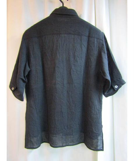 Y's yohji yamamoto femme シンプル シワ加工5分袖シャツ