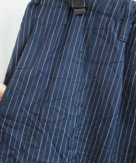 16ss yohji yamamoto pour homme 紺 ストライプシワ加工 サルエルワイドパンツ HO-P78-902