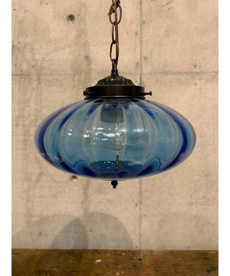 ヴィンテージ ブルーガラス ペンダントランプ ②