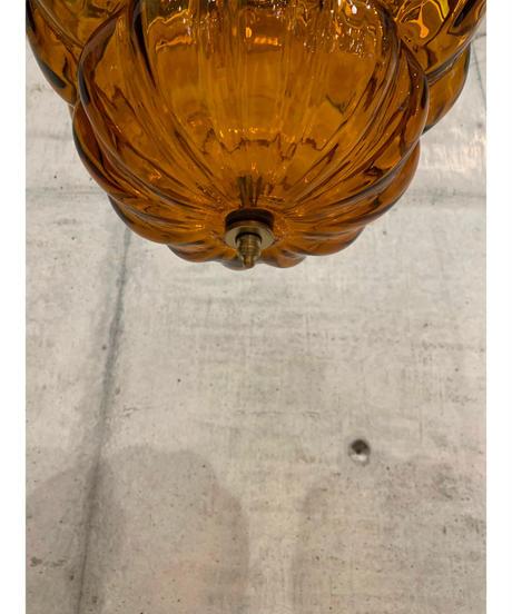 ヴィンテージ アンバーガラス ペンダントランプ