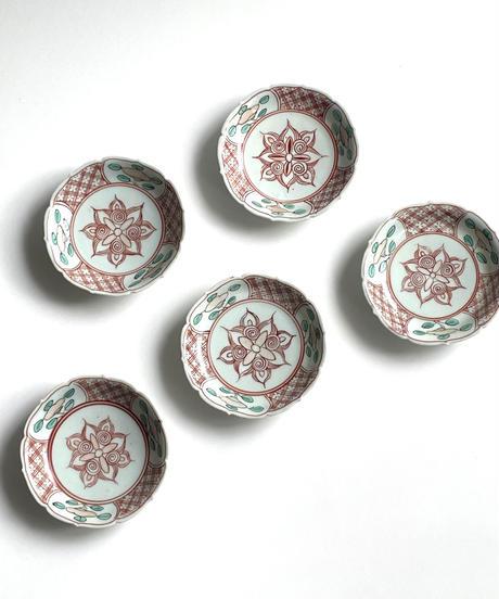 色絵輪花4寸皿5客組  no.3