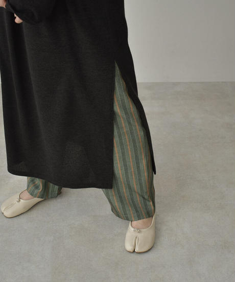 bottoms-02098 グリーンストライプ ストレートパンツ