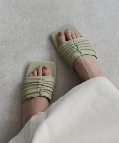 shoes-02111 ソフトギャザー フラットサンダル エクリュ ベージュ ミント ペールイエロー