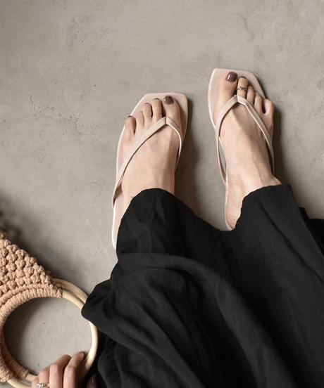 nh-shoes-02074 スクエアトゥ トングサンダル ホワイト ベージュ ブラック