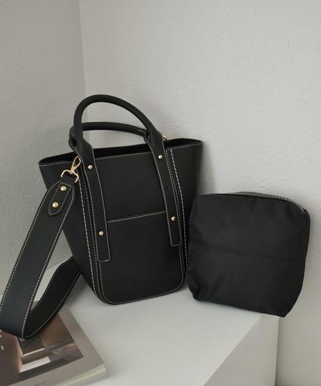 bag2-02571 フェイクレザー 3wayトートバッグ ショルダーバッグ インナーポーチ付き ブラック