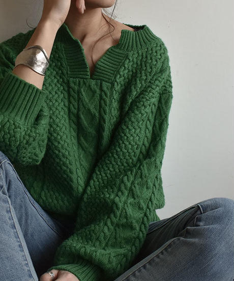 knit-02031 ウール混 キーネック アランニットプルオーバー グリーン