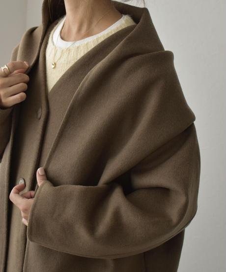 11月下旬入荷分 予約販売 coat-13003 ストール付き ロングウールコート リバー仕立て モカ ブラック