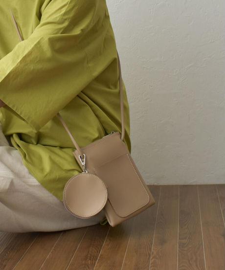 bag2-02568 エコレザー ミニ ショルダーバッグ コインケース付き ホワイト クリーム ライトブラウン ライトカーキ モカベージュ