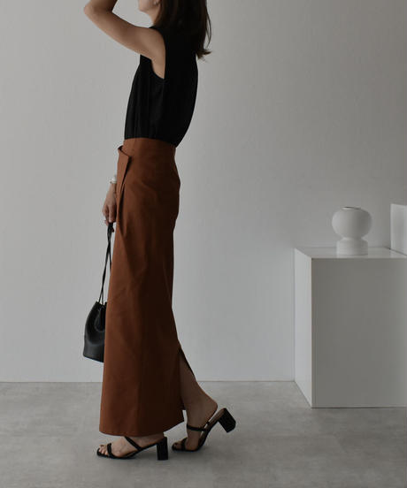 bottoms-04033 日本製 ポケット チノ ストレッチ スカート ベージュ ブラウン