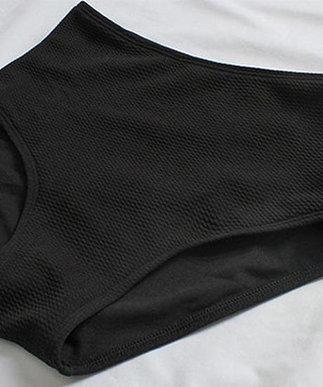 swim-02376 シャーリング×シアー オフショルダー 長袖 ブラック 水着