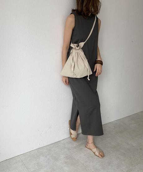 nh-bag2-02502 日本製 レッドクロス リネン生地 ミリタリーエプロン巾着バッグ