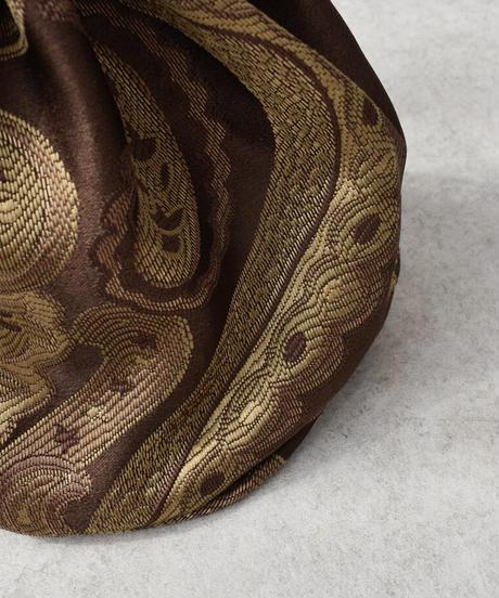 nh-bag2-02565 日本製 ペイズリー柄 ジャガード巾着バッグ ブラウン