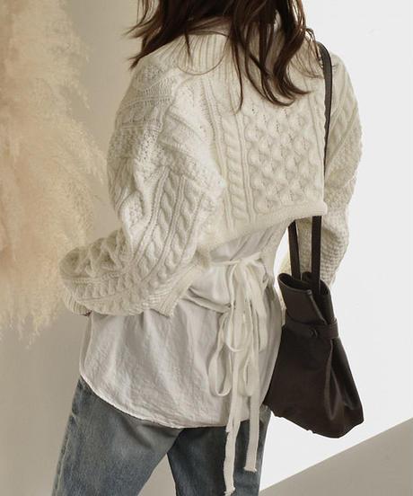 knit-02016 バックリボン クロップドニット オフホワイト ブルー