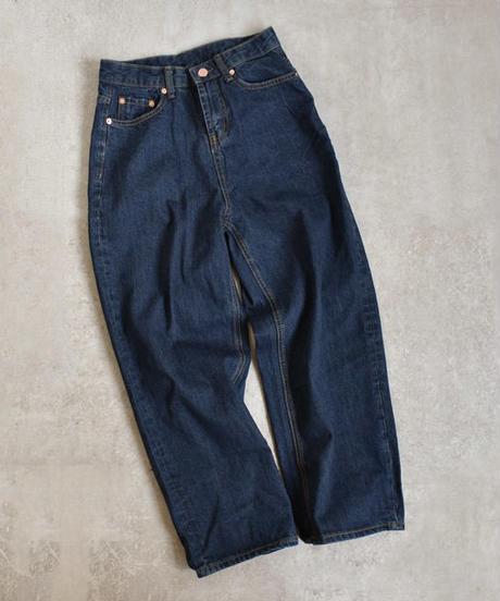bottoms-02004 ハイウエストストレート デニムパンツ インディゴブルー