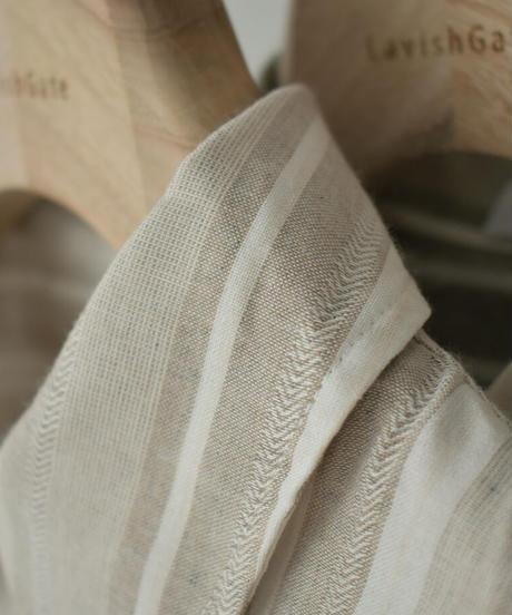 tops-02216 リネンライク マルチストライプ シャツ モカ グレージュ グリーン