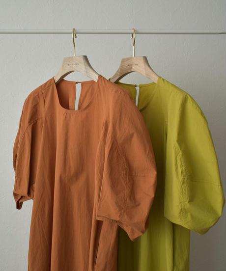 onepiece-02027 バルーンスリーブ コットンワンピース ライムグリーン オレンジ