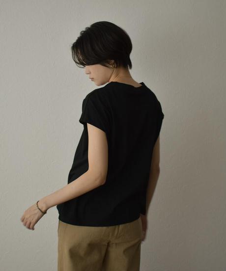 nh-tops-02240 ワイドノースリーブ Tシャツ モカ ブラック