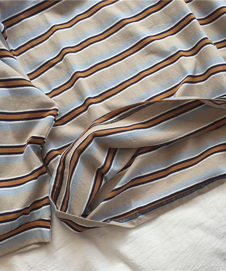 nh-tops-02144 マルチボーダー クルーネック ルーズ Tシャツ