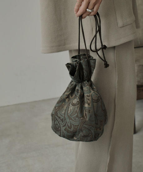 nh-bag2-02518 日本製 ペイズリー柄 ジャガード巾着バッグ ブラック グリーン シャンパン