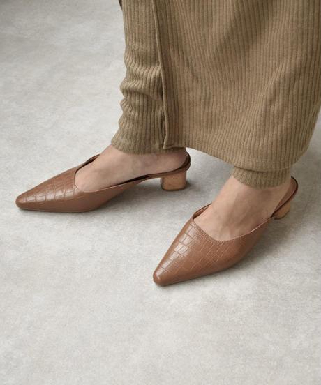 shoes-02083 クロコ型押しサンダル ブラウン