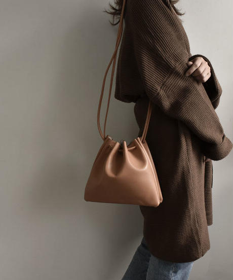 nh-bag2-02370 フェイクレザー シンプル巾着バッグ ベージュ キャメル ブラック