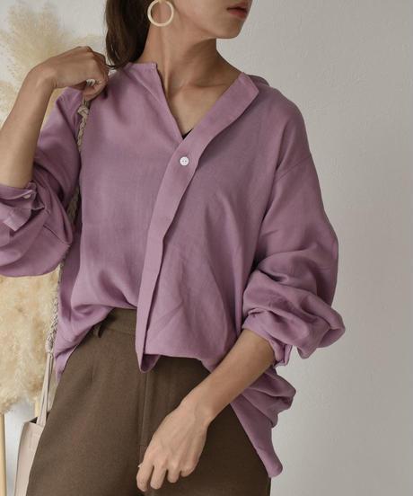 nh-tops-02127 変形ノーカラー ラフシャツ パープル