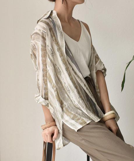nh-tops-02116 ペイントストライプシャツ