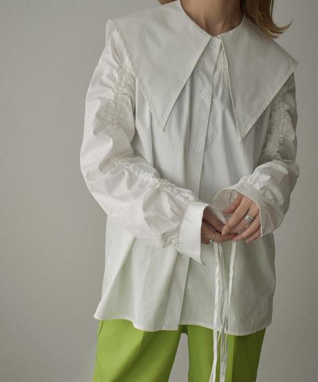 tops-02221 ビックカラー ギャザーデザインシャツ ホワイト