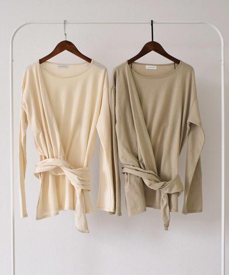 nh-tops-04028 日本製 ワンショルダーラップ  ロング Tシャツ エクリュ カーキベージュ