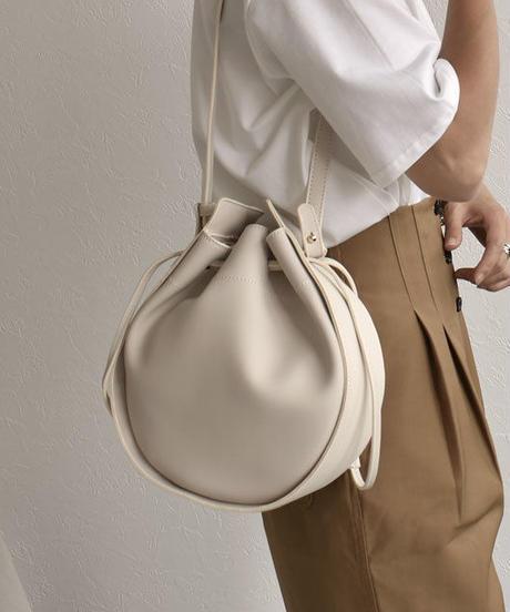 bag2-02462 フェイクレザー サークル巾着バッグ ショルダーバッグ アイボリー ブラウン ブラック