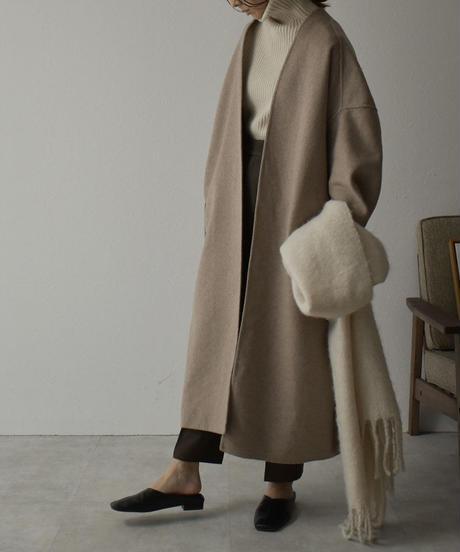 coat-04001 ノーカラー ロングガウンコート リバー仕立て
