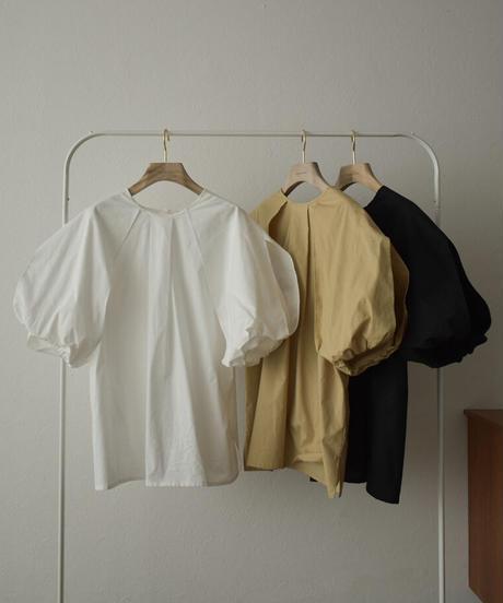 tops-04094 日本製 2way バルーンスリーブ ブラウス ホワイト ベージュ ブラック