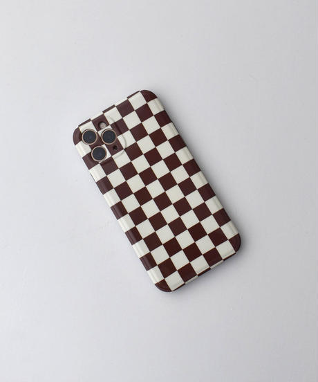 nh-iphone-02609 ブラウン チェッカーフラッグ iPhoneケース