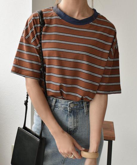 nh-tops-02112 マルチボーダークルーネックTシャツ ブラウン×ネイビー