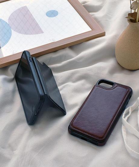 mb-iphone-02561 フェイクレザー 二つ折り カード収納付き iPhoneケース