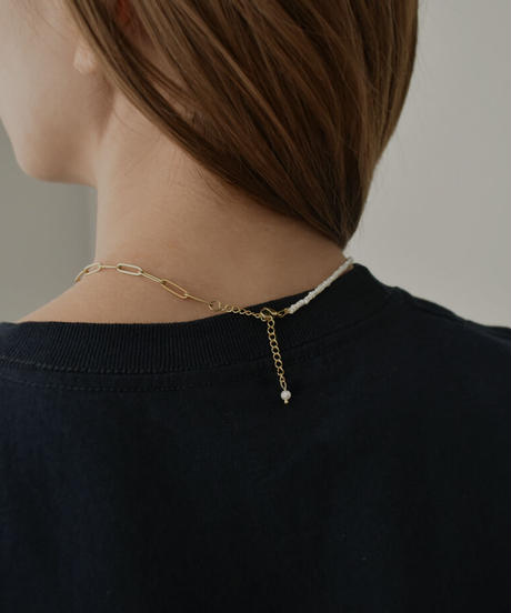 mb-necklace2-02051 バロック淡水パール×チェーンコンビネックレス ゴールド