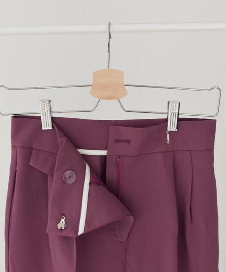 bottoms-02094 ウエストデザイン トラウザーパンツ ピンクパープル